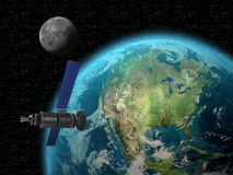 Satellite facing to earth Royalty Free Stock Photo
