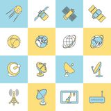 Satellite Flat Line Icons Stock Photography