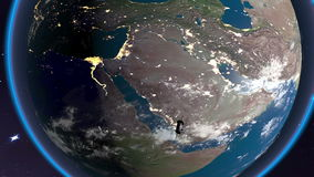 Satellite floats over North Africa. And South Asia stock video footage
