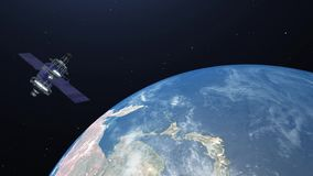 Satellite flying over the earth in space - 4K resolution video stock video