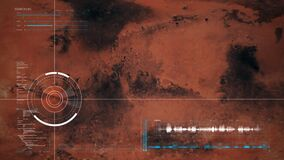 Satellite flyover of Mars with full HUD interface exploring the surface - 3D render