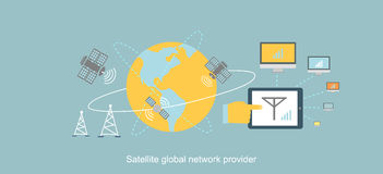 Satellite Global Network Provider Icon Flat. Internet communication, computer technology, information digital, signal and connection station, web wireless stock illustration