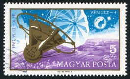 Satellite. HUNGARY - CIRCA 1967: stamp printed by Hungary, shows satellite, circa 1967 Royalty Free Stock Images