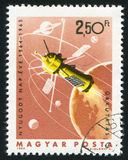 Satellite. HUNGARY - CIRCA 1965: stamp printed by Hungary, shows satellite, circa 1965 royalty free stock photography