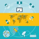 Satellite icons horizontal banners Royalty Free Stock Image