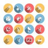 Satellite icons set Stock Photography