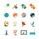 Satellite icons set. Spacecraft solar panels power satellite navigation global position system technology pictograms collection flat abstract isolated vector Royalty Free Stock Image