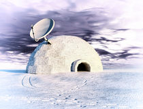 Satellite and igloo. Satellite dish and igloo  in winter landscape  (3d concept Stock Image