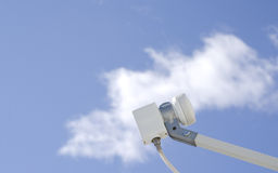 Satellite LNB against sky Royalty Free Stock Photo