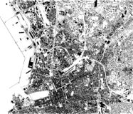 Satellite map of Marseille, France, city streets. Street map, city center vector illustration
