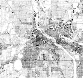 Satellite map of Minneapolis, Minnesota, Usa, city streets. Street map and map of the city center stock illustration