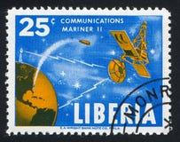 Satellite Mariner. LIBERIA - CIRCA 1964: stamp printed by Liberia, shows Satellite Mariner, circa 1964 stock photos