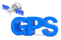 Satellite moderno vicino al segno di GPS rappresentazione 3d Fotografia Stock Libera da Diritti