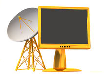 Satellite with monitor. 3d Stock Photo
