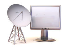 Satellite with monitor. 3d Stock Photography