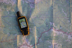 Satellite navigation on map. Satellite navigation lies on map Stock Photos