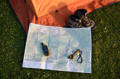 Satellite navigation on map. Satellite navigation lies on map Stock Images