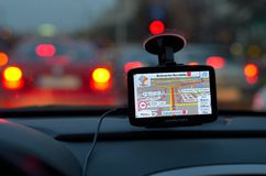 Satellite navigation system. In the car Royalty Free Stock Photography