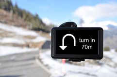 Satellite navigation system. Against winter road Royalty Free Stock Images