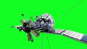 Satellite nello spazio Moto e riflessione altamente dettagliati e realistici animazione dello schermo di verde 4K stock footage