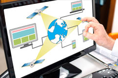 Satellite network concept on a computer monitor Stock Photo