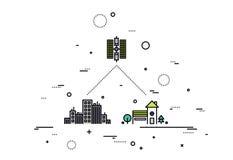 Satellite network line style illustration Royalty Free Stock Photo