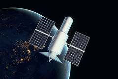 Satellite night time. Satellite over night time earth. 3D Rendering Stock Photography