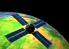 Satellite in Orbit. Satellite in Earth Orbit stock illustration