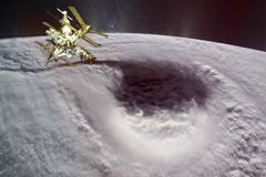 Satellite in orbit planet Earth. Huge hurricane eye. royalty free stock photo