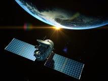 Satellite. Is orbiting around the Earth stock illustration