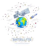 Satellite orbiting around earth, spaceflight, communication spacecraft space station with solar panels and satellite antenna plat. E, with rockets, stars and stock illustration