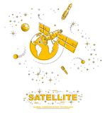 Satellite orbiting around earth, spaceflight, communication spacecraft space station with solar panels and satellite antenna plat. E, with rockets, stars and vector illustration