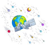 Satellite orbiting around earth, spaceflight, communication spacecraft space station with solar panels and satellite antenna plat. E, under meteor rain and stars stock illustration