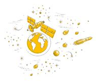 Satellite orbiting around earth, spaceflight, communication spacecraft space station with solar panels and satellite antenna plate. With rockets, stars and vector illustration