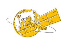 Satellite orbiting around earth, spaceflight, communication spacecraft space station with solar panels and satellite antenna plate. Thin line 3d vector stock illustration