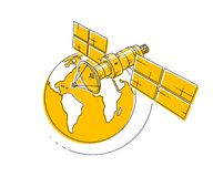 Satellite orbiting around earth, spaceflight, communication spacecraft space station with solar panels and satellite antenna plate. Thin line 3d vector vector illustration