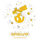 Satellite orbiting around earth, spaceflight, communication spacecraft space station with solar panels and satellite antenna plate. Under meteor rain and stars stock illustration