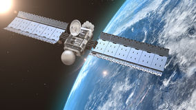 Satellite is orbiting the Earth Stock Image