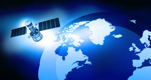 Satellite is orbiting the Earth Stock Photo