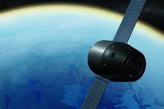 A satellite orbiting the earth. 3D rendering of a satellite orbiting the earth royalty free illustration