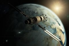 A satellite orbiting the earth. 3D rendering of a satellite orbiting the earth stock illustration