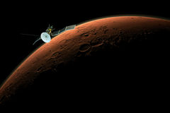 Satellite orbiting mars Royalty Free Stock Images