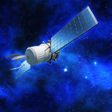 Satellite orbiting in outer space Royalty Free Stock Images