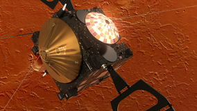 Satellite Orbiting Red Planet