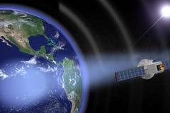 Satellite orbiting (Render). Communication satellites orbiting the earth with visible beams.(Render vector illustration