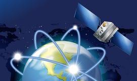 Satellite orbitting around the earth. Illustration Stock Photo