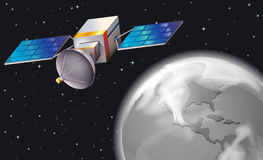 A satellite in the outerspace. Illustration of a satellite in the outerspace Stock Photos