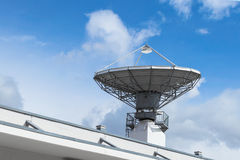 Satellite parabolic antenna for telecommunications. Parabolic satellite antenna disch for telecommunications and wireless radio signal data transfer Royalty Free Stock Photo