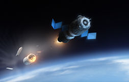 Satellite. And parts of rocket in the space vector illustration