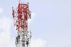 Satellite pillar base station.Satellite dish Stock Images